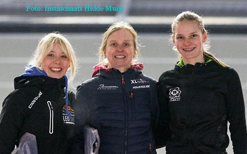 Anna van den Bos 2e en Bente Kerkhoff 3e op de afvalkoers 15km (foto: Instaschaats Hidde Muije)