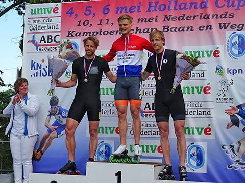 Podium heren 500m: Kay Schipper 1e