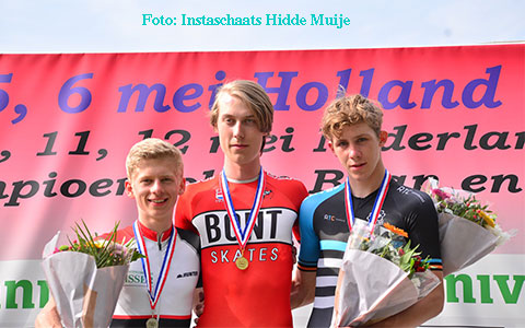 Podium puntenkoers jun.a heren : Sem Koster 3e (foto: Instaschaats Hidde Muije)