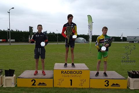 Podium junioren B jongens 1 Robbe Beelen 2 Gijs Kamp 3 Jens Janssens