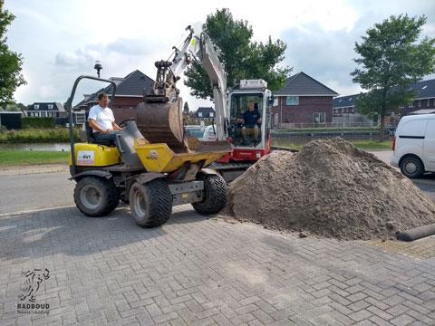 Zand laden voor transport